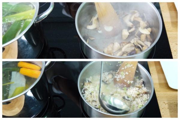 Pochado de verduras y añadido de caldo