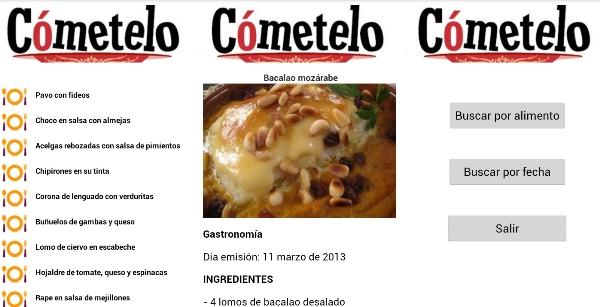 App programa de cocina Cómetelo