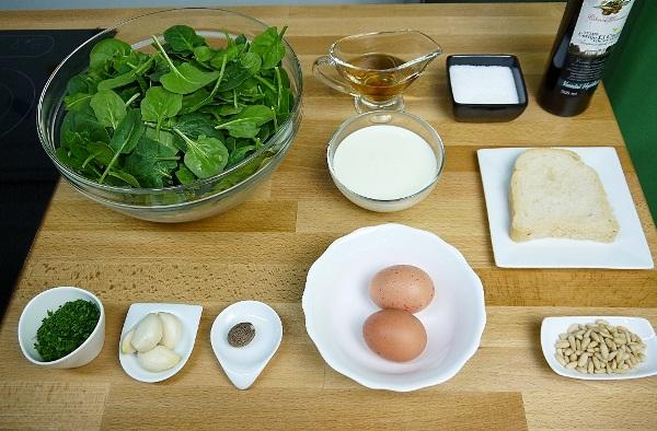 Ingredientes Espinacas al crema