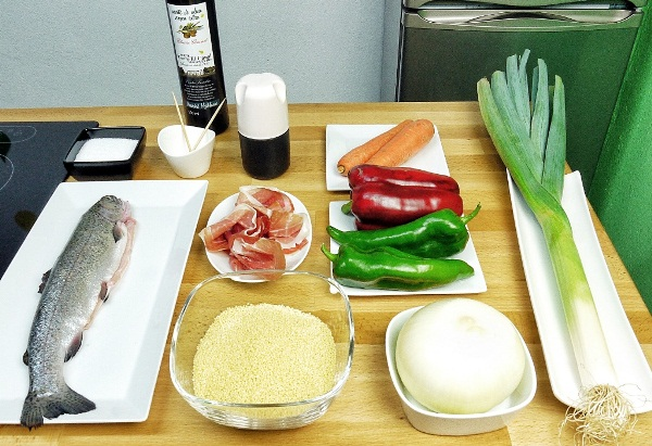 Ingredientes trucha con jamón