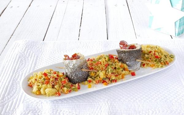 Trucha con jamón y cous cous